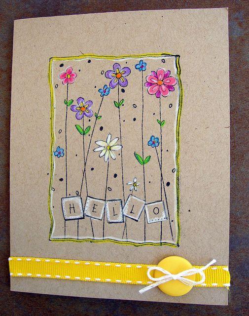 handmade greeting cad ... bright colors on kraft card stock