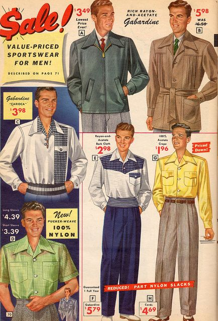 NBH 1953 | Vintage Men clothing 1953 fashions style color illustration 50s pants jacket shirt