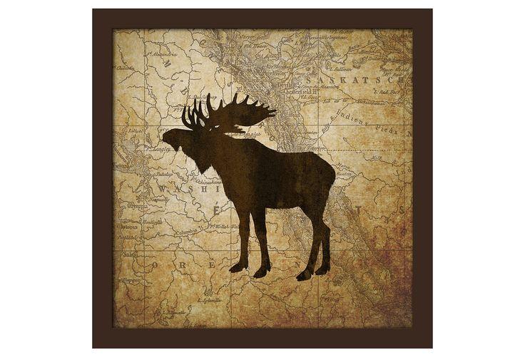 One Kings Lane - Woodsy Decor - Moose Map I