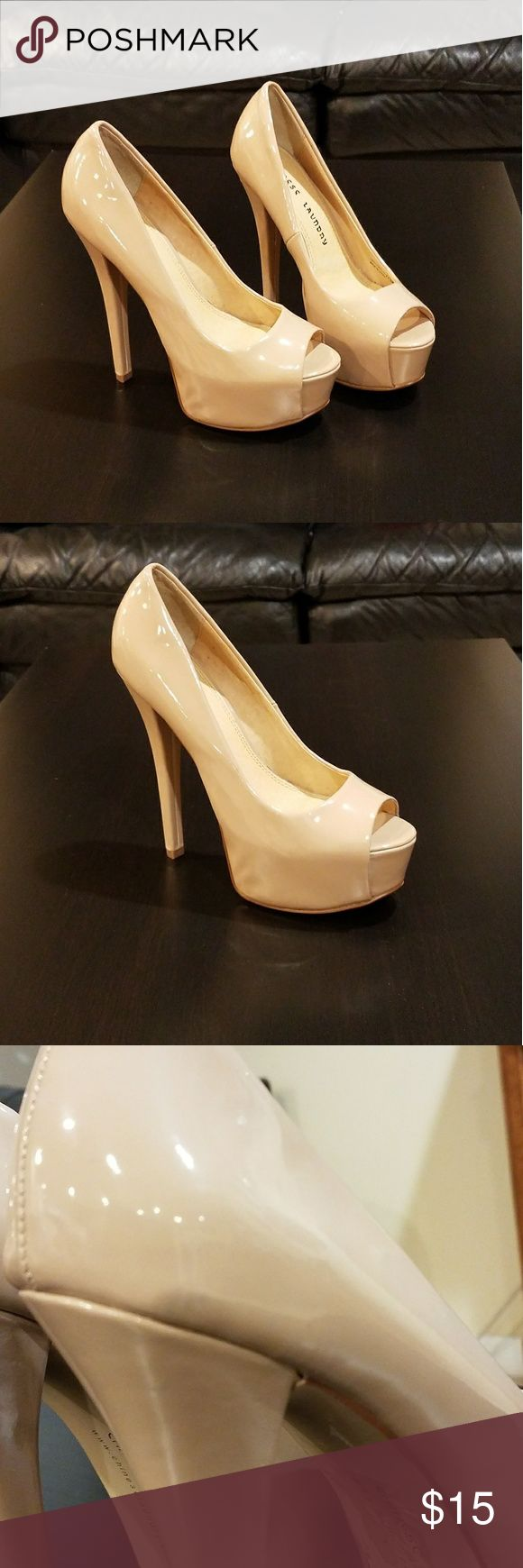 Nude Open Toe Heels Worn only once. Scuff mark shown in image 3. Otherwise, good condition. Chinese Laundry Shoes Heels
