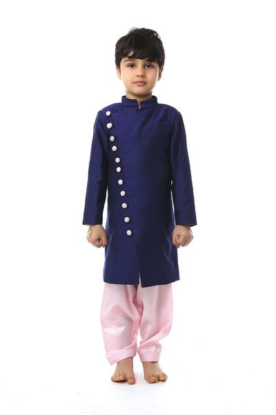 Cotton silk kurta with surat silk lining and brocade trimmings and surat silk pajama