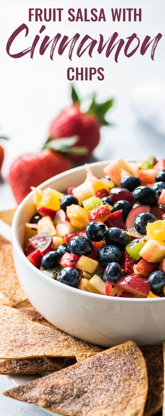 This Fruit Salsa with Cinnamon Chips recipe is made with 6 different types of fruit and is served with baked cinnamon sugar tortilla chips for a fun appetizer or healthy dessert! #fruitsalsa #fruitsalad #healthyappetizer #healthydessert | fruit salad | party appetizer | healthy appetizer | healthy dessert | summer dessert | churro chips | cinnamon sugar tortilla chips