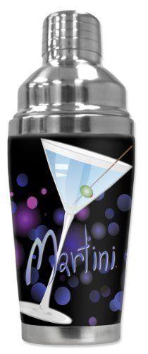 Mugzie® brand 16-Ounce Cocktail Shaker with Insulated Wetsuit Cover - Blue Martini by Art Plates. $25.95. 16 Oz Stainless Steel Cocktail Shaker covered with water-proof, neoprene wetsuit material.. Cushioned cover affords a secure grip and eliminates condensation and sweating. Bottom counter-weighted bottom provides stability.. Hand-sewn fabric cover is made from 1/4 inch closed-cell neoprene that is covered with soft, water-proof polyester fabric.. Stain-resistant cover is pri...