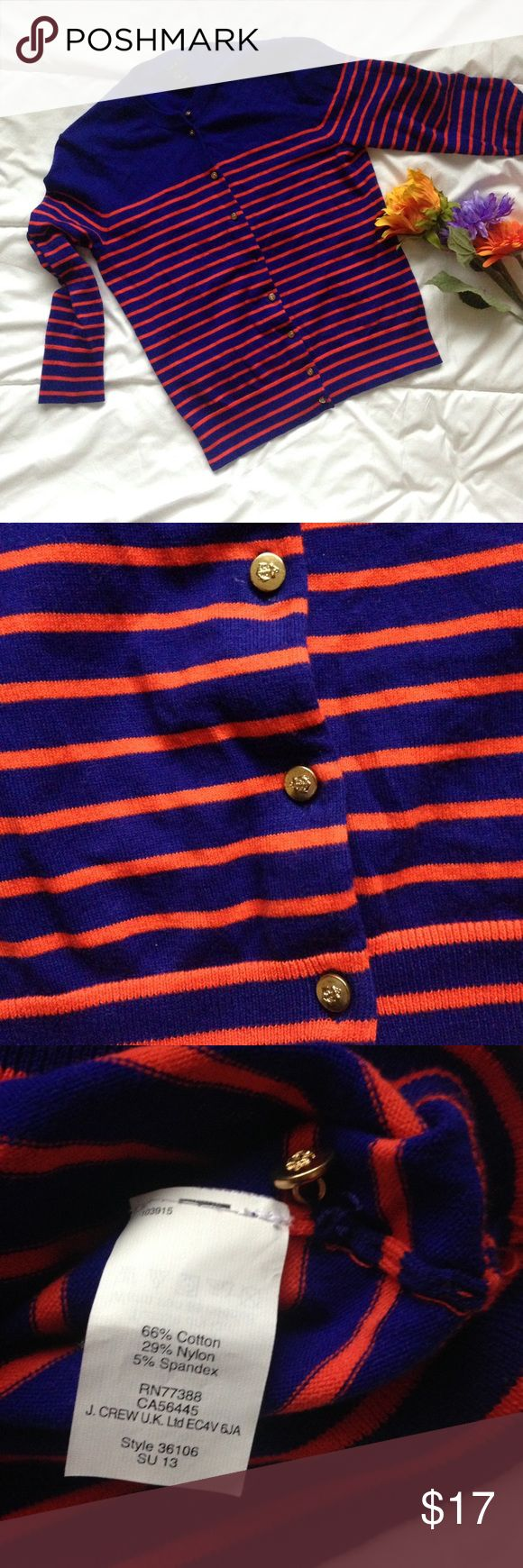 "J Crew nautical cardigan blue and red stripes Very good used condition. One button is loose and one button is missing but there is an extra button included that can be sewn on. Buttons have anchors on them. 66% cotton. Machine wash cold gentle cycle. Size small. Chest is 17"" and length is about 21"". Bundle or make an offer! J. Crew Sweaters Cardigans"