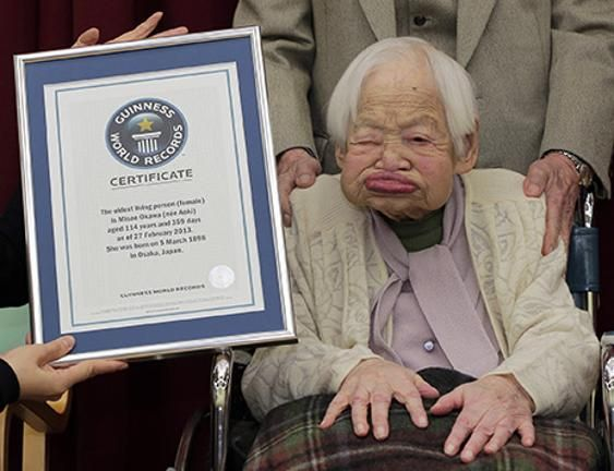 The record for the oldest living person is currently held by Misao Okawa from Japan, who turned 116 in March.