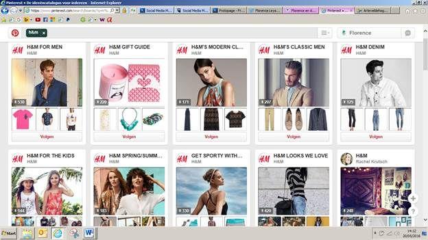 H&M gebruikt Pinterest op een slimme communicatieve manier. Voor elke doelgroep hebben ze een apart board gemaakt, zodat iedereen makkelijk de aanbiedingen van H&M kan bekijken, die hij/zij belangrijk vindt. url: https://www.pinterest.com/search/boards/?q=h%26m&rs=typed&0=h%26m%7Ctyped