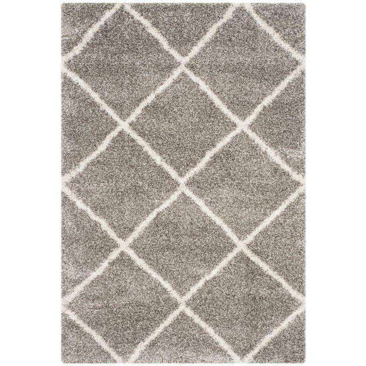 hudson shag grayivory 6 ft x 9 ft area rug