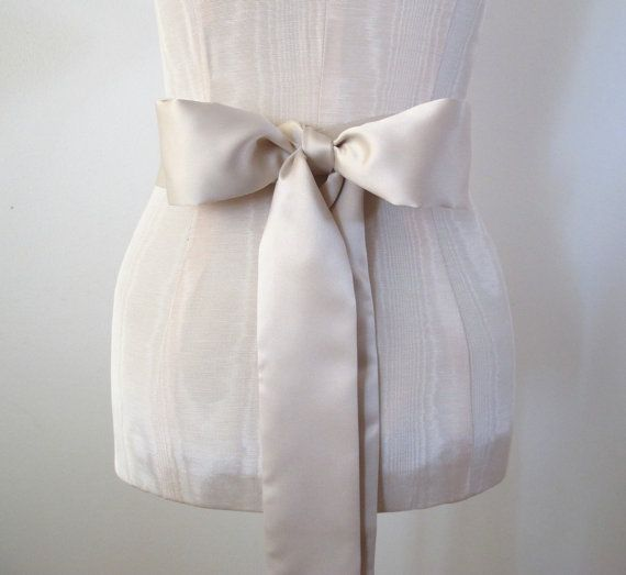 Satin Sash Champagne Light Taupe Matte Satin Wedding by ccdoodle, $49.00
