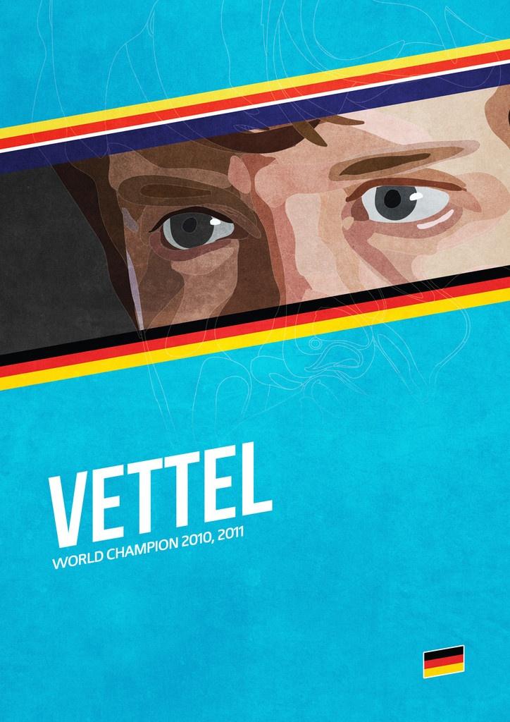 'Vettel' poster from the Grand Prix Champions series. #F1 #Vettel