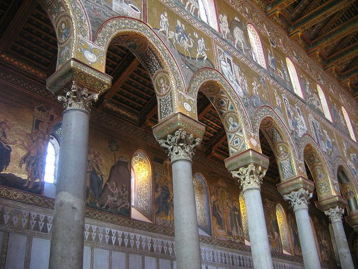 "The walls of the clerestory of the ""basilica"" style Monreale cathedral are covered with mosaic."