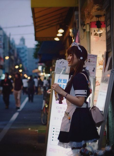Akihabara,Tokyo - maid Japanese approach to marketing their services (mainly bars and small shops, media houses ...), while support for young people to benefit and personal development (maturation & integration in the social sphere) Love it.