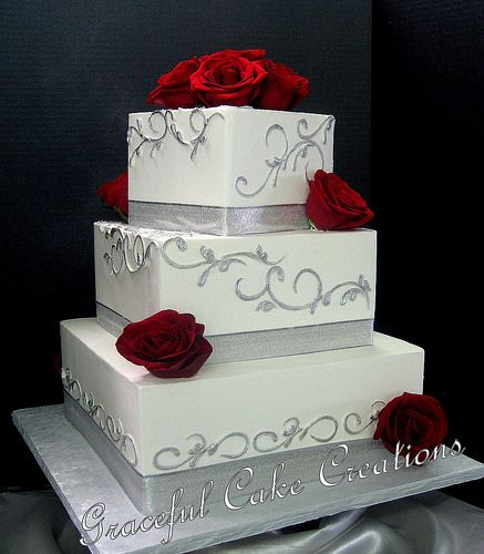 Elegant Square White Butter Cream Wedding Cake decorated with Silver Ribbon and Scrolls and Red Roses | Flickr - Photo Sharing!