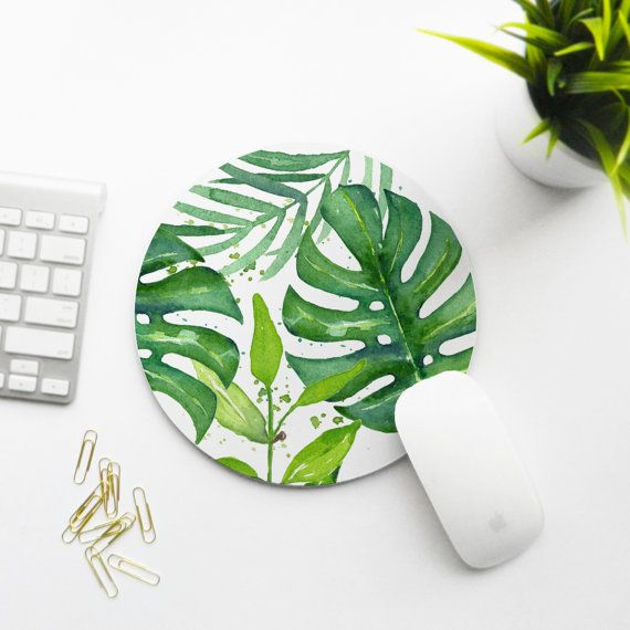 Mousepad Tropical Leaves by KatellaDesignsCo on Etsy All for a tropical secretary.