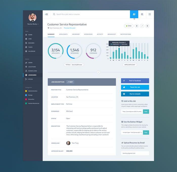 Dashboard Web App UI: Job Summary UI Design