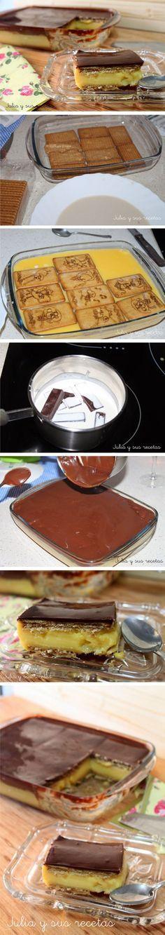 Pastel de galletas, chocolate y flan / http://www.juliaysusrecetas.com/