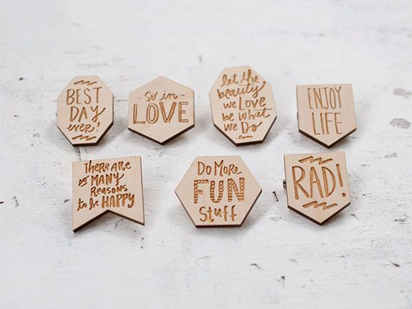 wooden quotes pins by jillmakes
