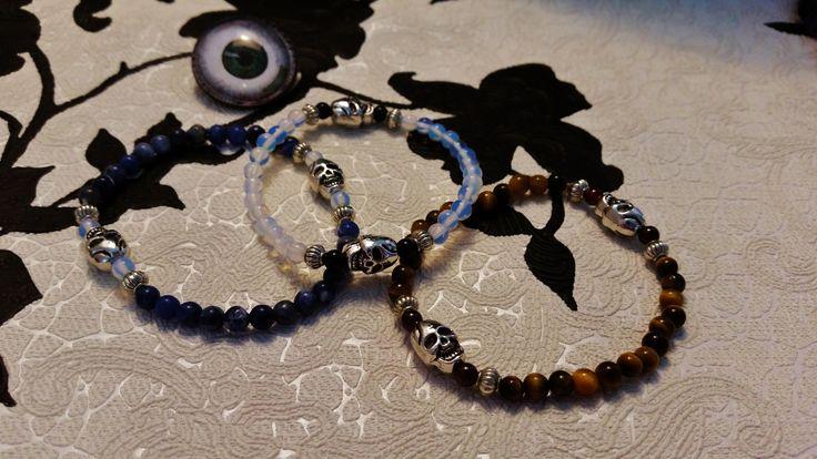 Bracelet en pierres semis précieuses skull Gallitrap style Malaa