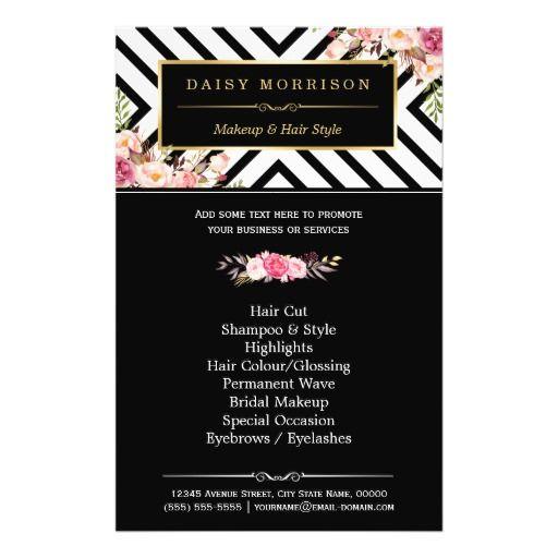 "Beauty Salon Vintage Floral Black White Stripes 5.5"" X 8.5"" Flyer"
