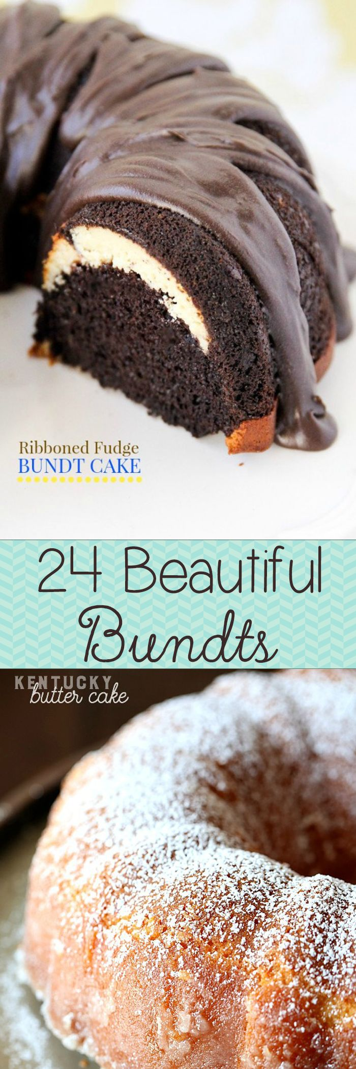 24 Gorgeous Bundt Cakes -- gorgeous and full of surprise fillings and fun flavors!! Bundt cakes are always perfect for any occasion.