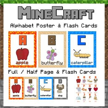 Alphabet posters minecraft themed minecraft flashcard for Posterboard letters