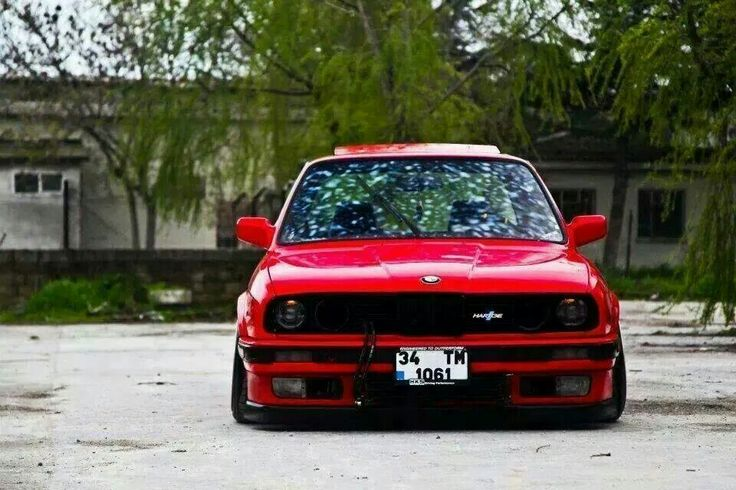 Bmw E30 3 Series Red Hartge Slammed Front Stance Bmw