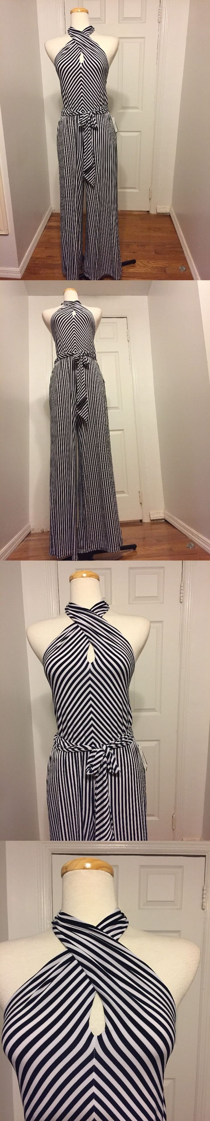 Jumpsuits And Rompers: Nwt Ralph Lauren Halter Neck Navy And White Stripe Palazzo Jumpsuit Size Pl -> BUY IT NOW ONLY: $49.99 on eBay!