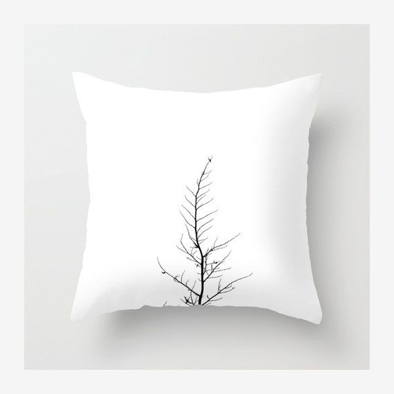 Think of making this with embroidery black thread on white canvas Minimalistic Tree Throw Pillow Covers, Home/Office/Nursery Decor