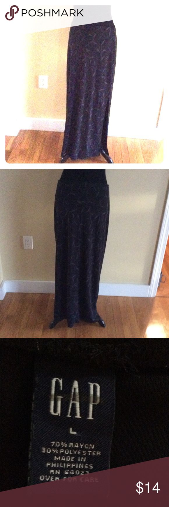 Gap Maxi Skirt sz L Gap skirt sz Large in good condition. Elastic waist with a slit . Fabric in pic. GAP Skirts Maxi