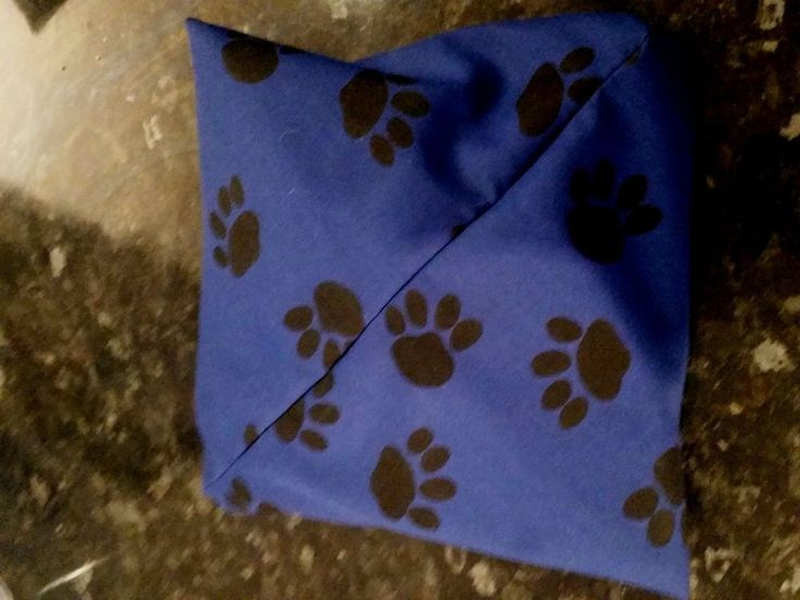 Small Cushion Cover - Navy Paw Print Design - 19cm x 19cm - Lined with zipper