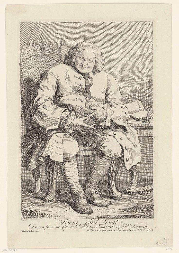 William Hogarth | Simon, Lord Lovat, 1746, William Hogarth, 1746 | Na de slag bij Culloden in 1746 portretteerde Hogarth de gevangen genomen Schotse opstandeling Lovat in een herberg te St. Albans. Hij zit op een stoel naast een tafel waarop papieren.
