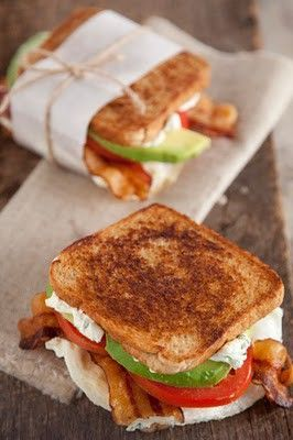 Fried Egg, Avocado, Bacon & Tomato Sandwich with herb goat cheese spread on the bread