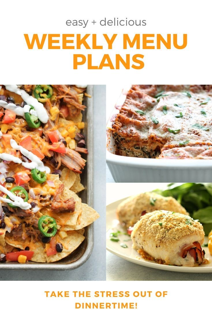 Quit Stressing About What To Make For Dinner With Our Weekly Menu Plans Every Week We Send Out New Menu Plans That Include 6 Recipes Meals Fast Easy Meals
