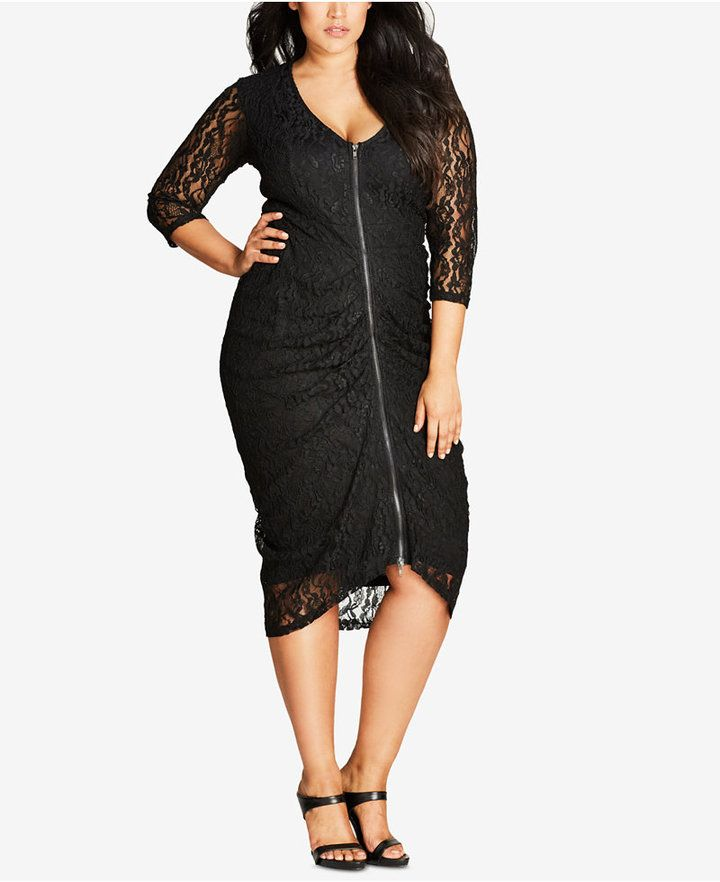 City Chic Trendy Plus Size Zip-Up Lace Midi Dress
