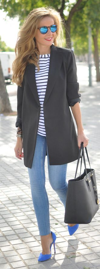 White And Blue Nautical Pullover by Te Cuento Mis Trucos + MICHAEL Michael Kors Black Jet Set Travel Tote