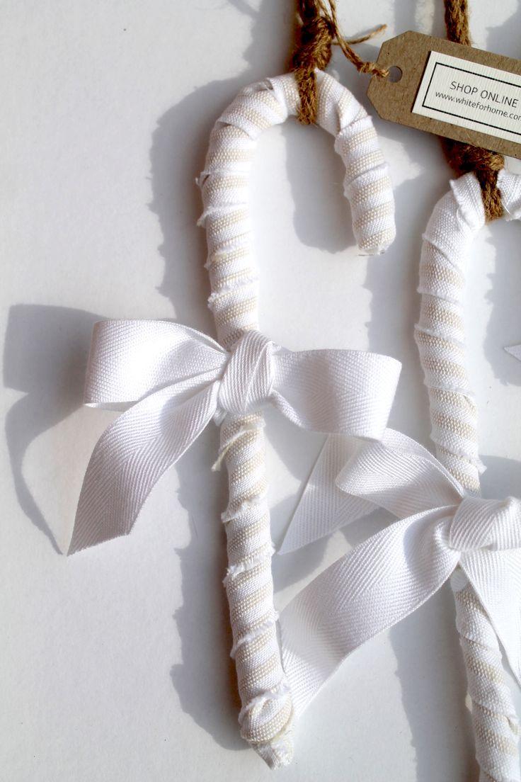 Υφασμάτινα μαλακά μπαστουνάκια για λευκά Χριστούγεννα! #dreamingofawhiteChristmas #white #ornaments #candycane #cotton #love #whiteforhome