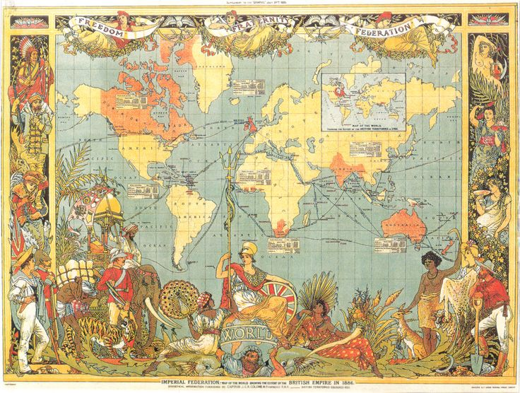 1886 British Empire Map. The detailed figures on the sides show the different cultures in the various British territories
