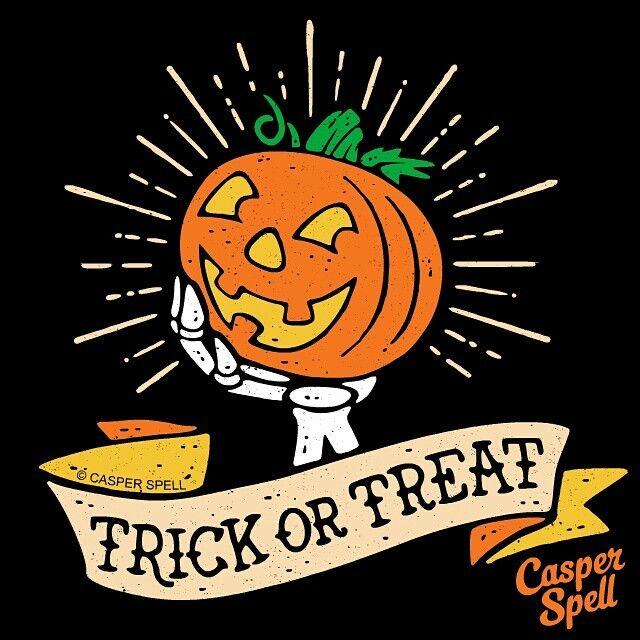 Halloween Trick Or Treat Pumpkin Skeleton Art Design Vintage Retro Tattoo Illustration Cute Spooky Casper Spell