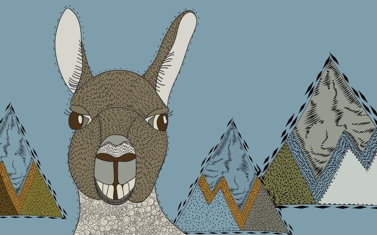 Lama and mountains - Willemijn//Art&Design