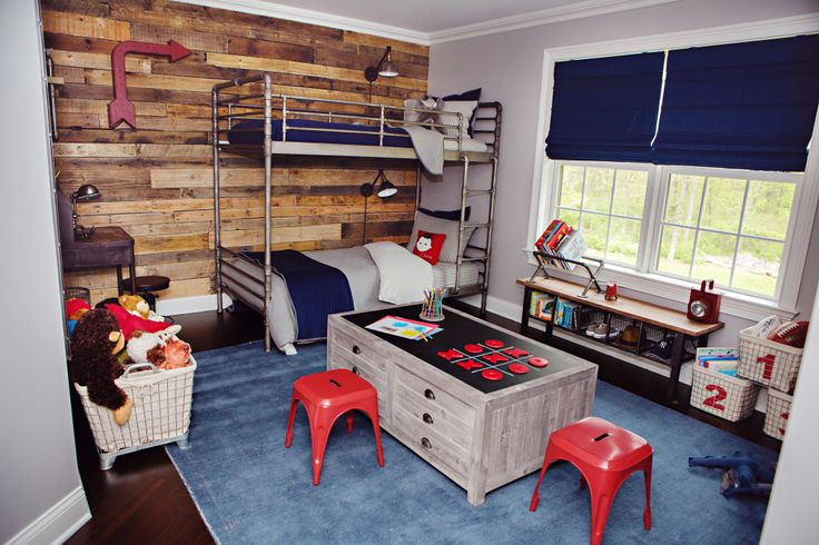 Blue, wood, industrial and grey nursery- my colors except for the red!