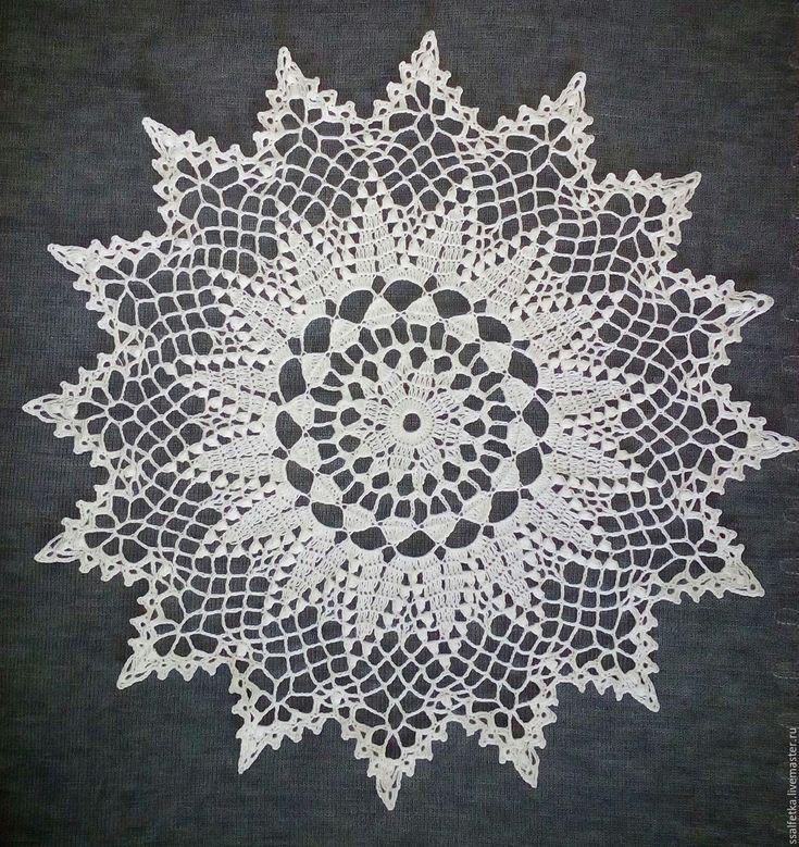 Купить Снежинка звездочка салфетка - ручное вязание, Вязание крючком, украшение для интерьера, салфетка крючком