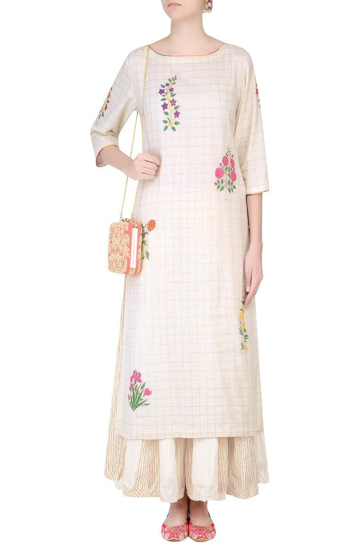 Ecru mughal botanic embroidered kurta and stripe sharara pants set available only at Pernia's Pop Up Shop.