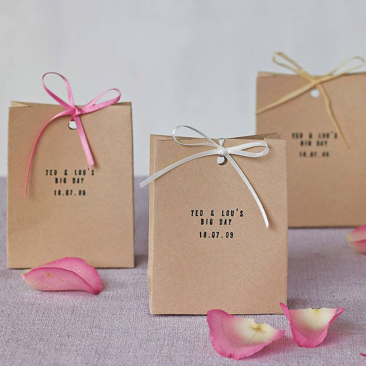 personalised set of ten favour bags by creative and contemporary handmade | notonthehighstreet.com Would be quite easy to make and nice to give to people - any ideas what to put inside? I thought of people names on the bag then a sweet buffet - so choose your own as a sort of pick and mix. ?? Or would I only be excited by that?