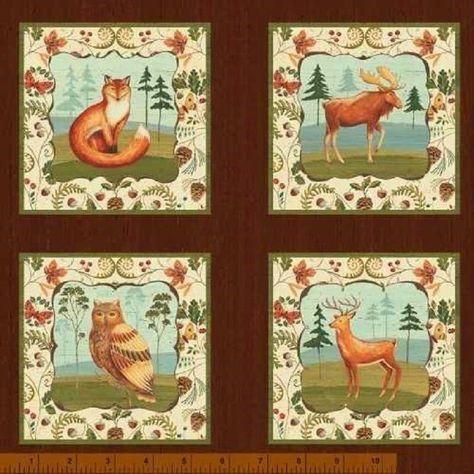 "23"" x 44"" Panel - 24 Blocks Wild Woods Woodland Animal Owl Fox Deer Duck Windham #WindhamFabrics"