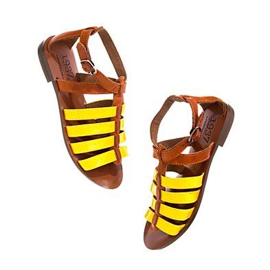yellow and cognac: Gladiators Sandals, Summer Fashion, Pop Of Colors, Yellow Sandals, Summer Shoes, Spring Sandals, Patent Gladiators, Madewell Sandals, Madewell Yellow