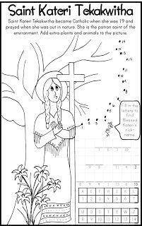 ***FREE*** Saint Kateri Tekakwitha Coloring Page Catholic Kids Bulletin