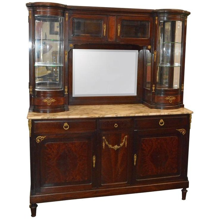 Hand-Carved French Mahogany Vitrine with Marble Top | From a unique collection of antique and modern vitrines at https://www.1stdibs.com/furniture/storage-case-pieces/vitrines/