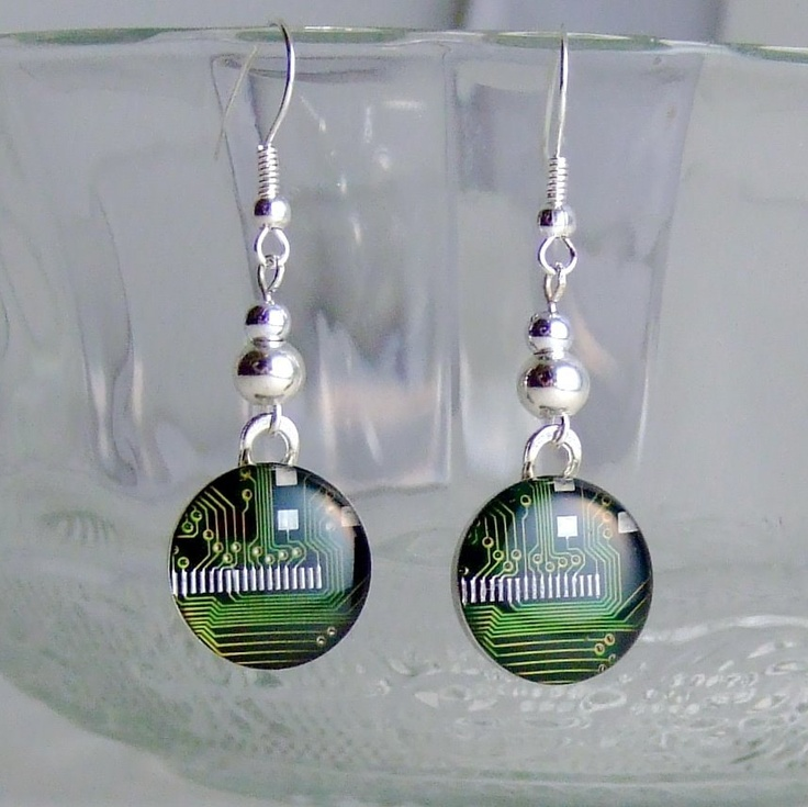 Circuit Board Dangle Earrings -- Elegant,  Environmentally Friendly Domed Green Computer Jewelry. $50.00, via Etsy.
