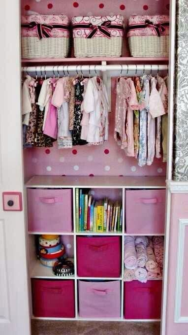 Baby closet - turquoise, blue, green with light pink accents