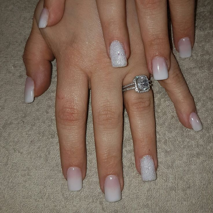 Brides Nails  French Ombre with stunning white Ring finger.