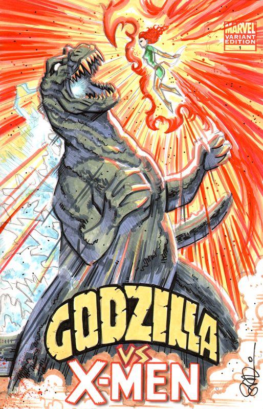 Godzilla vs X-Men by scottblairart